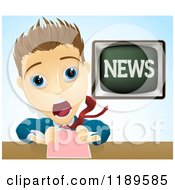 Cartoon Of A Shocked Screaming News Anchor Man Royalty Free Vector Clipart by AtStockIllustration
