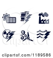 Clipart Of Black And White Energy And Electricity Icons Royalty Free Vector Illustration by AtStockIllustration