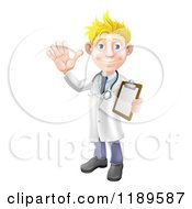 Cartoon Of A Friendly Blond Male Doctor Waving And Holding A Medical Chart Royalty Free Vector Clipart