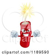 Cartoon Of A Mad Lit Dynamite Mascot With Fists Royalty Free Vector Clipart by AtStockIllustration