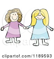 Cartoon Of Two Girls Holding Hands Royalty Free Vector Illustration by lineartestpilot