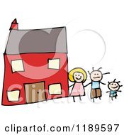 Cartoon Of A Family Outside Their Home Royalty Free Vector Illustration
