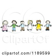 Cartoon Of A Children Holding Hands Royalty Free Vector Illustration by lineartestpilot