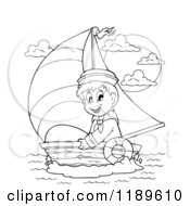 Cartoon Of An Outlined Happy Sailor Boy In A Boat Royalty Free Vector Clipart