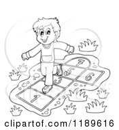 Cartoon Of An Outlined Happy Boy Playing Hop Scotch Royalty Free Vector Clipart
