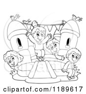 Cartoon Of Outlined Happy Children Playing On A Bouncy House Castle Royalty Free Vector Clipart