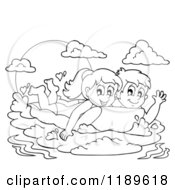 Cartoon Of Outlined Happy Children Swimming On An Inflatable Mattress Royalty Free Vector Clipart