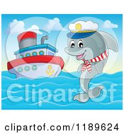 Cartoon Of A Happy Captain Dolphin Jumping Out Of Water By A Cruise Ship Royalty Free Vector Clipart by visekart