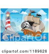 Cartoon Of A Pirate Ship Near An Island Lighthouse Royalty Free Vector Clipart
