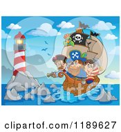 Cartoon Of A Buccaneers On A Pirate Ship Near A Lighthouse Royalty Free Vector Clipart