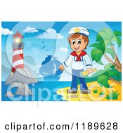 Cartoon Of A Happy Sailor Boy Holding A Spyglass On A Beach With A Lighthouse And Ship In The Distance Royalty Free Vector Clipart by visekart