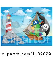 Cartoon Of A Pirate Parrot On A Ship Near A Lighthouse Royalty Free Vector Clipart