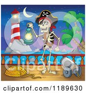 Cartoon Of A Skeleton Pirate Holding A Lanteron On A Ship Deck Near A Lighthouse At Night Royalty Free Vector Clipart