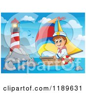 Cartoon Of A Happy Sailor Boy In A Boat Near A Lighthouse Royalty Free Vector Clipart by visekart