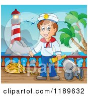 Cartoon Of A Happy Sailor Boy Holding A Spyglass By A Cannon On A Boat Deck Royalty Free Vector Clipart by visekart