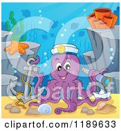 Cartoon Of A Happy Captain Octopus With An Anchor Paper Boat And Telescope Under The Sea Royalty Free Vector Clipart by visekart