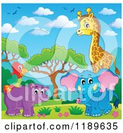 Cartoon of a Cute African Hippo Giraffe Elephant and Parrot in a Landscape - Royalty Free Vector Clipart by visekart #COLLC1189635-0161