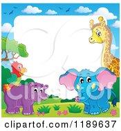 Cartoon Of A Cute African Hippo Giraffe Elephant And Parrot Border Royalty Free Vector Clipart