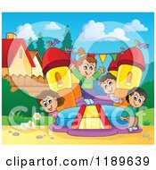 Cartoon Of Happy Children Playing On A Bouncy House Castle In A Yard Royalty Free Vector Clipart