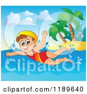 Cartoon Of A Happy Girl Swimming Near An Island Beach Royalty Free Vector Clipart by visekart
