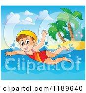 Cartoon Of A Happy Girl Swimming Near An Island Beach Royalty Free Vector Clipart