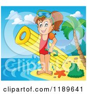 Cartoon of a Happy Girl with an Inflatable Mattress and Snorkel Gear on a Beach - Royalty Free Vector Clipart by visekart