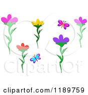 Butterfly And Flower Design Elements