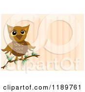 Cartoon Of A Perched Owl Over Pink Stripes Royalty Free Vector Clipart by bpearth