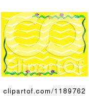Yellow Wave Backlground With Floral Corners