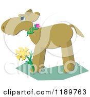 Cartoon Of A Moose In Profile Standing Over A Flower Royalty Free Vector Clipart by bpearth