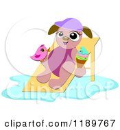Cartoon Of A Happy Summer Dog With Ice Cream And A Bird On A Beach Chair Royalty Free Vector Clipart by bpearth