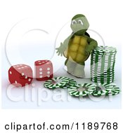 3d Tortoise With Dice And Casino Poker Chips