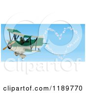 Clipart Of A 3d Tortoise Pilot Making A Heart In The Sky With A Biplane Royalty Free CGI Illustration