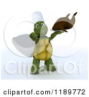 Clipart Of A 3d Chef Tortoise Serving A Roasted Turkey Royalty Free CGI Illustration by KJ Pargeter