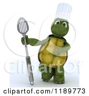 Clipart Of A 3d Tortoise Chef Presenting A Slotted Spoon Royalty Free CGI Illustration by KJ Pargeter