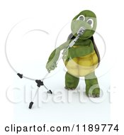 Clipart Of A 3d Tortoise Singer With A Microphone 2 Royalty Free CGI Illustration