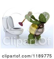 Clipart Of A 3d Tortoise Plunging A Toilet Royalty Free CGI Illustration