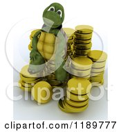3d Tortoise Sitting On Gold Coins