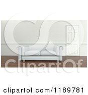 Clipart Of A 3d White Sofa By A Closed Door Royalty Free CGI Illustration by KJ Pargeter