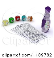 Clipart Of A 3d Bingo Marker Resting By Cards And Balls 2 Royalty Free CGI Illustration by KJ Pargeter