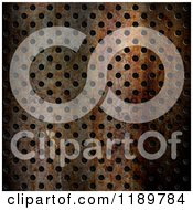 Clipart Of A 3d Rusty Perforated Metal Background Texture Royalty Free CGI Illustration