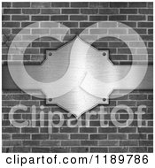 Clipart Of A 3d Grayscale Brick Wall And Brushed Metal Plaque Royalty Free CGI Illustration