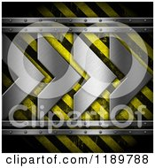 Clipart Of A Hazard Stripes Background With 3d Silver Arrows Royalty Free CGI Illustration by KJ Pargeter