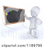 Clipart Of A 3d White Character Teacher Presenting A Black Board With Physics Magnets Royalty Free CGI Illustration by KJ Pargeter