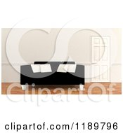 Clipart Of A 3d Black Sofa With White Pillows By A Closed Door Royalty Free CGI Illustration by KJ Pargeter