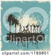 Clipart Of Silhouetted Beach Party Dancers Palm Trees With Grunge On Blue Royalty Free Vector Illustration