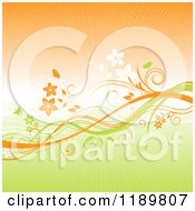 Clipart Of A Green And Orange Floral Background With Vines And Rays Royalty Free Vector Illustration by KJ Pargeter
