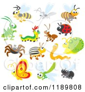 Cartoon Of Cute Happy Insects Royalty Free Vector Clipart