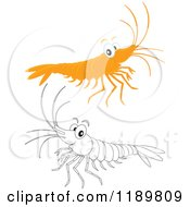 Cartoon Of A Cute Happy Colored And Outlined Shrimp Royalty Free Vector Clipart by Alex Bannykh