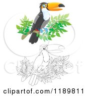 Cartoon Of A Happy Airbrushed And Outlined Toucan Bird On A Branch Royalty Free Clipart by Alex Bannykh